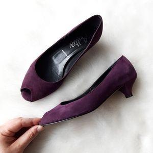 Butter | Purple Suede Peep Toe Kitten Heel Pump